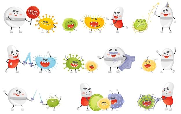 Set di compresse belligeranti umanizzate con germi