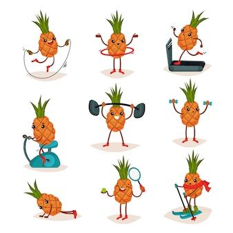 Set di ananas umanizzato in diverse azioni. allenamento attivo. personaggio dei cartoni animati di frutta tropicale
