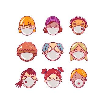 Set di volti di avatar umani con maschere di medicina