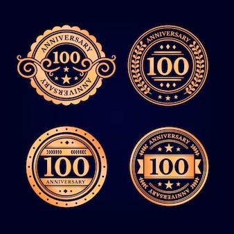 Set di etichette di anniversario di cento anni