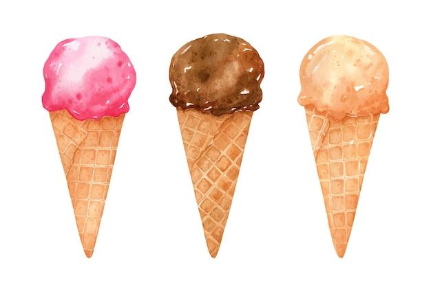 Set di gelato in coni di cialda isolati su bianco