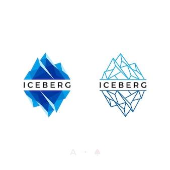 Impostare il design del logo iceberg o picco di ghiaccio