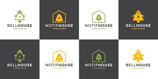 Set di icone bell house, logo di notifica domestica design moderno vettore