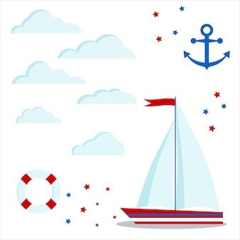 Imposti l'icona della barca a vela blu e rossa con due vele e bandiera, nuvole, stelle, ancora, salvagente.