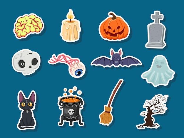 Set di adesivi di halloween icona. zucca, fantasma, cervello, pipistrello, teschio, lapide, albero, candela, scopa, bulbo oculare, gatto, calderone delle streghe. illustrazione vettoriale