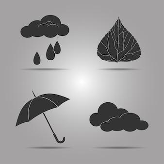 Imposta modelli di icone sul tema dell'autunno per il tuo design