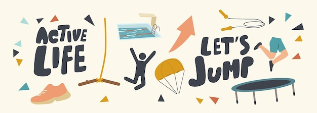 Set di icone della vita attiva, attività adrenalinica estrema estiva, paracadutismo estivo ricreativo, salto con la corda, paracadute, trampolino e bungee con tipografia. fumetto illustrazione vettoriale