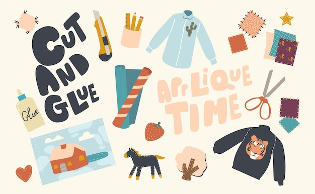 Set di icone appliques che fanno tema, tagliacarte, attrezzature, forbici, pezzi di carta e tessuto, vestiti, colla e toppe di stoffa colorate, fragola, casa, albero, animale