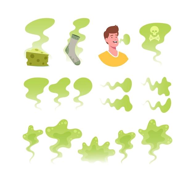 Set di icone tema cattivo odore. nuvole tossiche verdi, calzino puzzolente e pezzo di formaggio, uomo con respiro disgustoso
