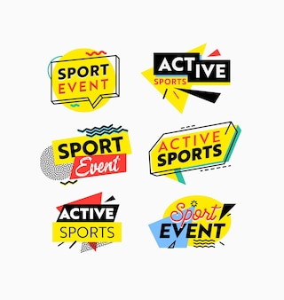 Set di icone o banner evento sportivo, tag colorati sportivi attivi o distintivi per allenamento sportivo o pubblicità del torneo, emblemi della concorrenza, etichette isolate su priorità bassa bianca. illustrazione vettoriale