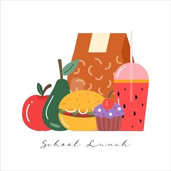 Set di icone colazione o pranzo pasti. cibo, bevande per bambini scatole per il pranzo scolastico con pasto, hamburger, succhi di frutta, snack, frutta, .vector collection