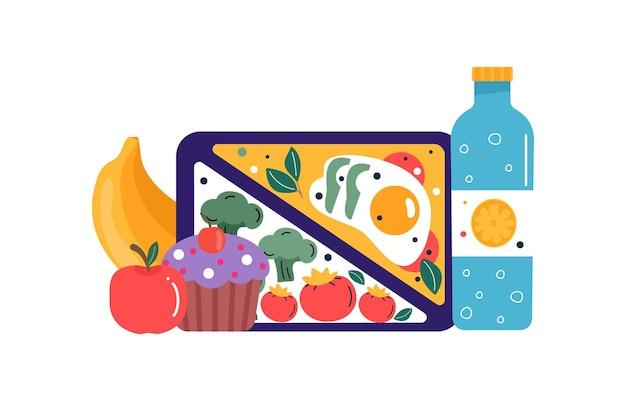 Set di icone colazione o pranzo pasti. cibo, bevande per bambini scatole per il pranzo scolastico con pasto, hamburger, sandwich, succhi di frutta, snack, frutta, verdura. collezioni vettoriali