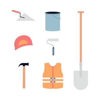 Imposti le icone dell'illustrazione piana degli strumenti di costruzione e di costruzione