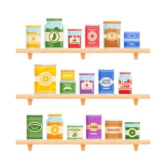 Set icone tema cibo in scatola. varie lattine e barattoli di vetro stanno sugli scaffali stand