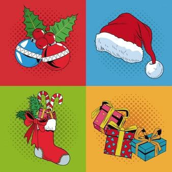 Set icone di arte pop natalizia