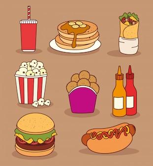 Set di icone, deliziosi fast food