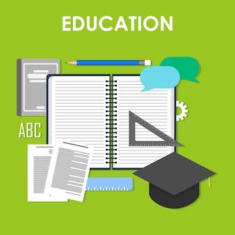 Imposta icone per l'istruzione, l'istruzione online, l'istruzione professionale in stile design piatto