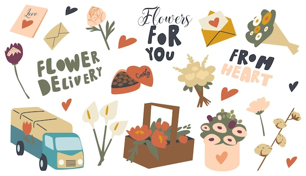Set di icone a tema di consegna di fiori