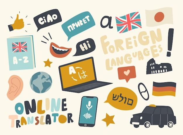 Set di icone per il servizio di traduzione in lingua straniera a tema