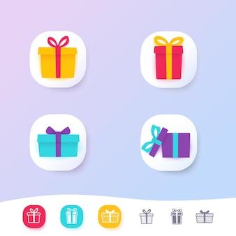 Set di icone di scatole regalo