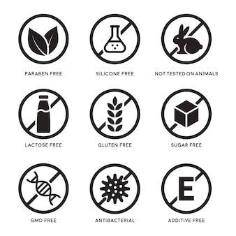 Set di icone senza glutine, senza lattosio, senza ogm, parabeni, additivo alimentare, senza zucchero, non testato su animali, antibatterico, icone vettoriali in silicone