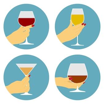 Set di icone della mano umana con bicchiere di vino, festa, concetto di celebrazione
