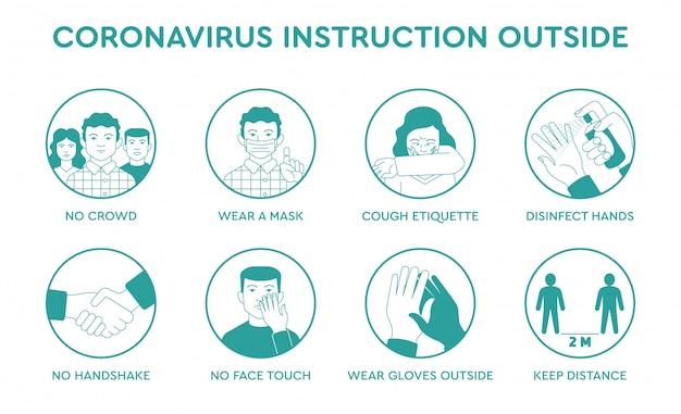 Imposti le icone infographic di coronavirus di quarantena di punte di prevenzione