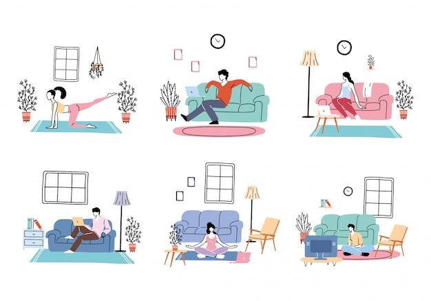 Set di icone di isolamento e distanziamento sociale
