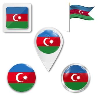 Metta la bandiera nazionale delle icone dell'azerbaigian