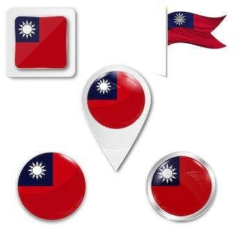 Metta la bandiera nazionale delle icone di taiwan