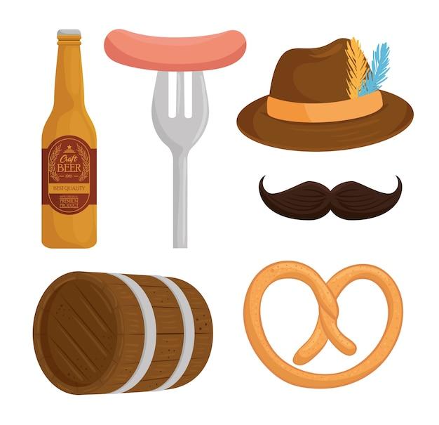Metta le icone, progettazione dell'illustrazione di vettore di celebrazione del festival più oktoberfest