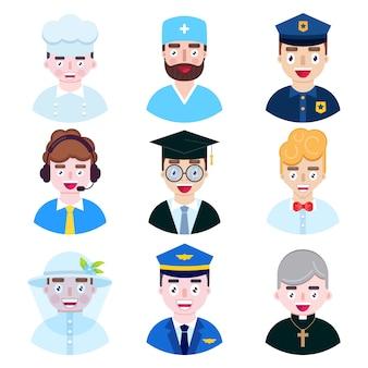 Set di icone di occupazione di persone su sfondo bianco