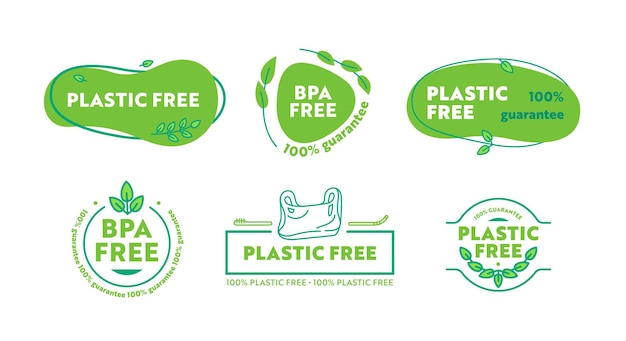 Set di icone in plastica o tema libero bpa. nessun badge di veleni di plastica con elementi disegnati a mano di foglie verdi. etichette in stile semplice per la progettazione di imballaggi ecologici. fumetto illustrazione vettoriale