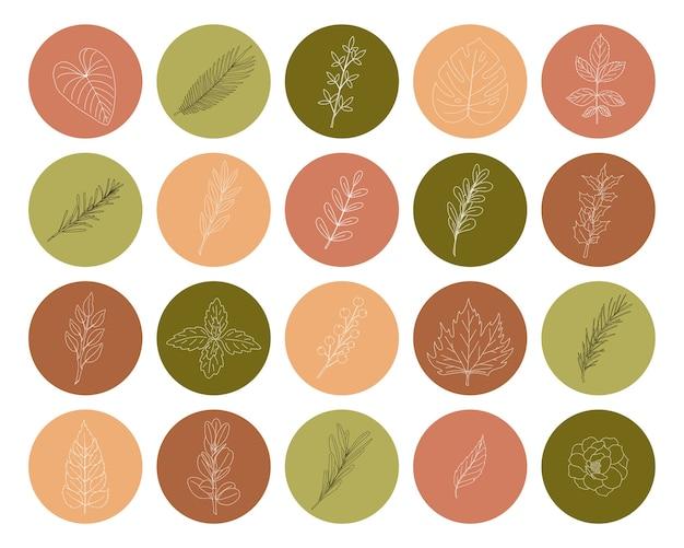 Un set di icone di forma rotonda con ramoscelli e foglie disegnate a mano. una collezione di elementi decorativi botanici nei toni del verde e del rosa per i profili dei social media e il web design. illustrazione vettoriale