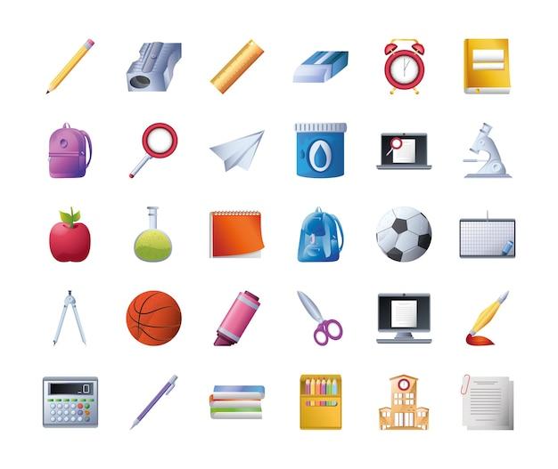 Set di icone scuola su sfondo bianco, progettazione dettagliata