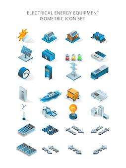 Un set di icone per pannelli solari ed energia elettrica