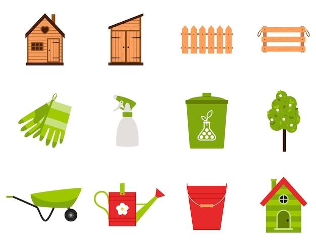 Un set di icone. primavera, attrezzi da giardino, tettoia, guanti, fertilizzante, spruzzatore d'acqua, recinzione, scatola, secchio.