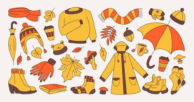 Set di icone che simboleggiano l'illustrazione di vettore di stile infantile del fumetto luminoso autunnale