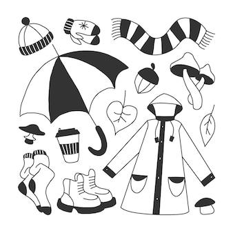 Set di icone che simboleggiano l'illustrazione da colorare di vettore di stile di scarabocchio infantile dei cartoni animati autunnali