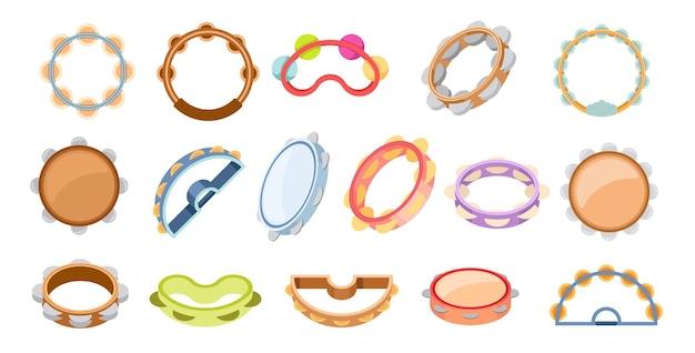 Set di icone tamburelli strumento musicale a percussione di design diverso. campana per musica e spettacoli di carnevale