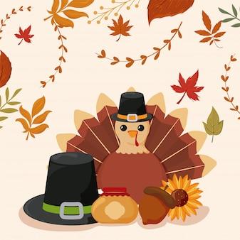 Set di icone del ringraziamento con foglie d'autunno