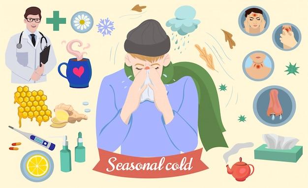 Set di icone sul tema del comune raffreddore. grafica.