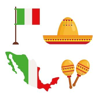 Set di icone tradizionali per la celebrazione dell'indipendenza del messico.