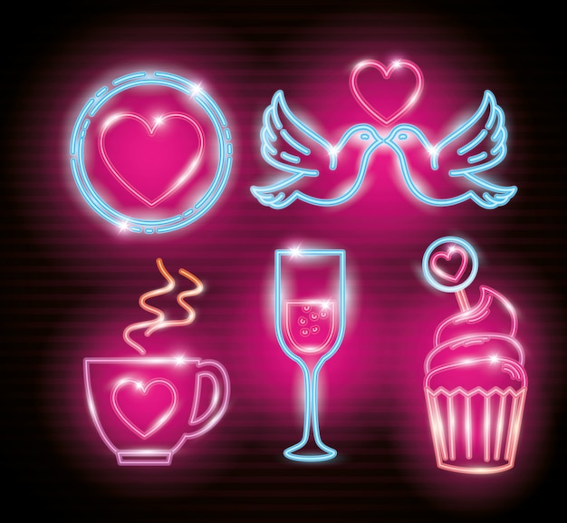 Metta le icone del giorno di s. valentino della luce al neon