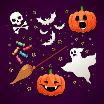 Set di icone con zucche carine e altri attributi di halloween
