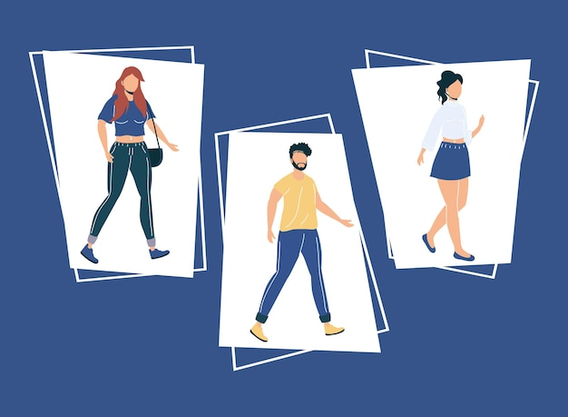 Set di icone con persone senza volto