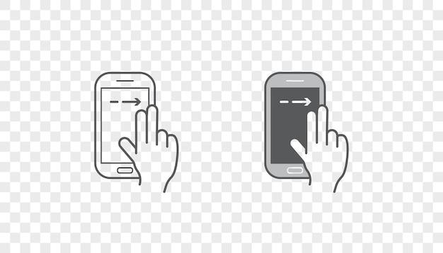 Set di icone con mani che tengono dispositivo intelligente con gesti
