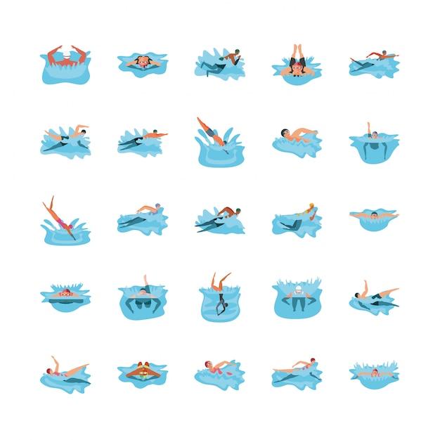 Set di icone con persone in nuoto