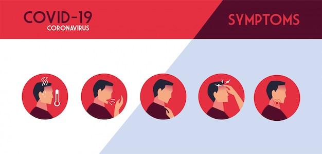 Set di icone con sintomi di coronavirus Vettore Premium