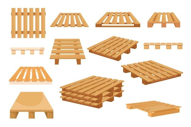Set di icone pallet in legno isolati su sfondo bianco. tavolozze in legno per impilare merci da diversi lati